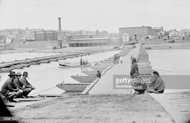 View of cavalry men guarding a pontoon bridge across the James River Varina Landing VA 1864