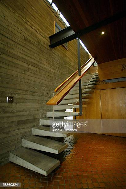 View of cement staircase whihc lead to upstairs in Marge Rowlins' Balboa Island home designed by architect John Lautner Marge Rawlins who worked with...