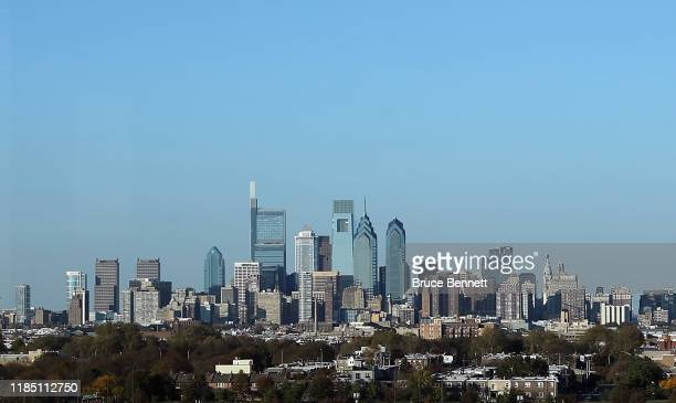 View of center city Philadelphia as photographed from the Wells Fargo Center prior to the game between the Philadelphia Flyers and the Toronto Maple...