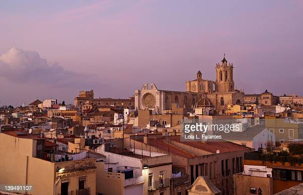 View of center of Tarragona with its cathedral