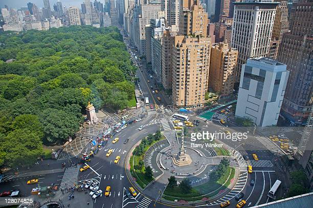 View of Central Park and buildings surrounding the park and Columbus Circle, from 35th floor reception of Mandarin Oriental Hotel, New York, NY