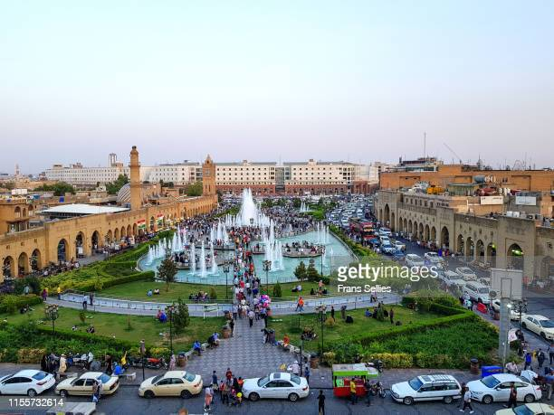 view of central square in erbil, just south of the citadel - アルビール ストックフォトと画像