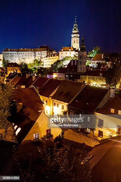 view of cesky krumlov at night, bohemia, czech republic - christine wehrmeier stock photos and pictures