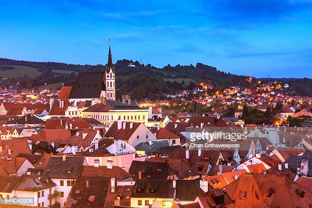 view of cesky krumlov , czech republic - cesky krumlov castle stock photos and pictures