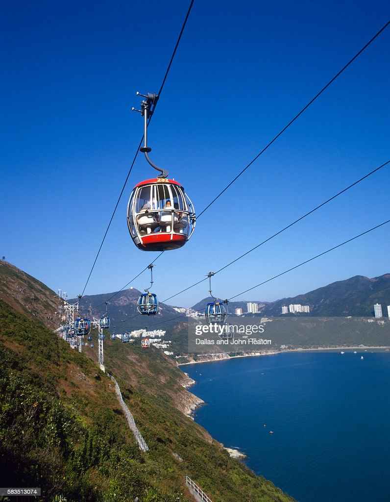 View of chair lift in Ocean Park, Funicular, Hong Kong, China : Stock Photo