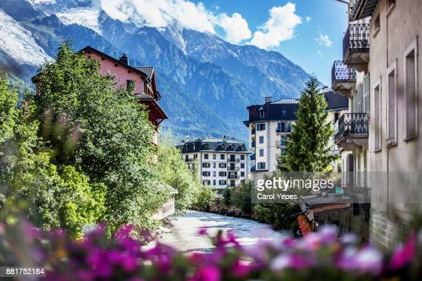 view of Chamonix-Mont Blanc village and French alps