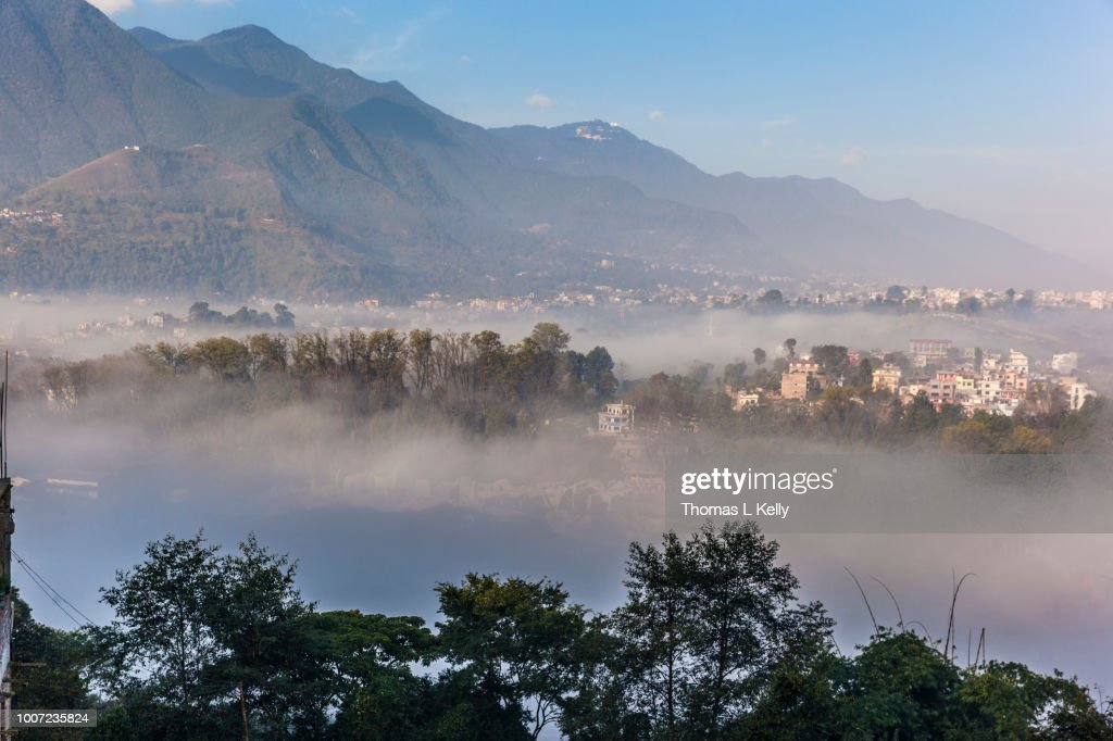View of Champa Devi, a sacred mountain from Sneha's Care, Bhaisipati, Kathmandu, Nepal, Himalayas, Asia : Stock Photo