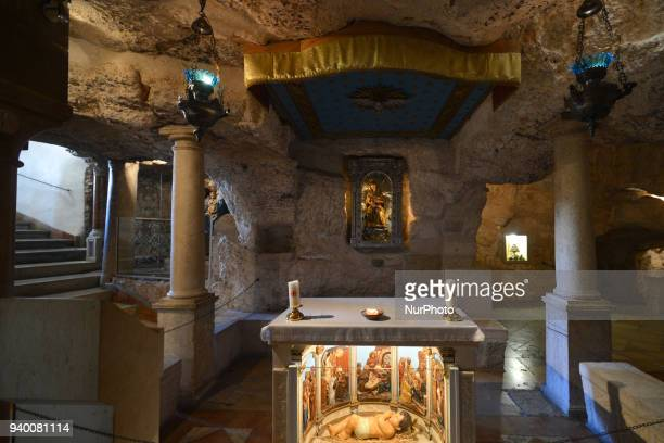 A view of Chapel of the Milk Grotto in Bethlehem where the Holy Family found refuge during the quotslaughter of the innocentsquot before they could...