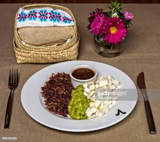 View of 'Chapulines' guacamole Oaxaca cheese and chili sauce to fill tacos at Mexican chef Alejandro Pinon's 'Los Danzantes' restaurant in Mexico...