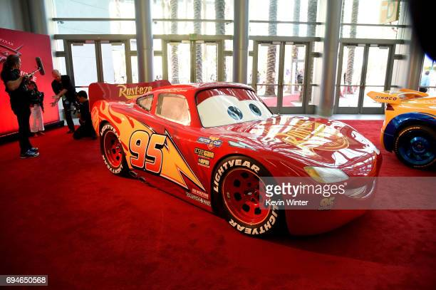 A view of character cars from the film on display at the premiere of Disney and Pixar's 'Cars 3' at Anaheim Convention Center on June 10 2017 in...