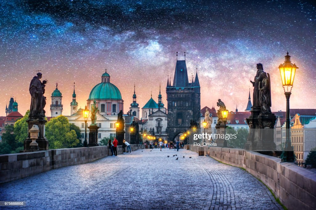 View of Charles Bridge in Prague at night with milky way. Czech Republic : Stock Photo