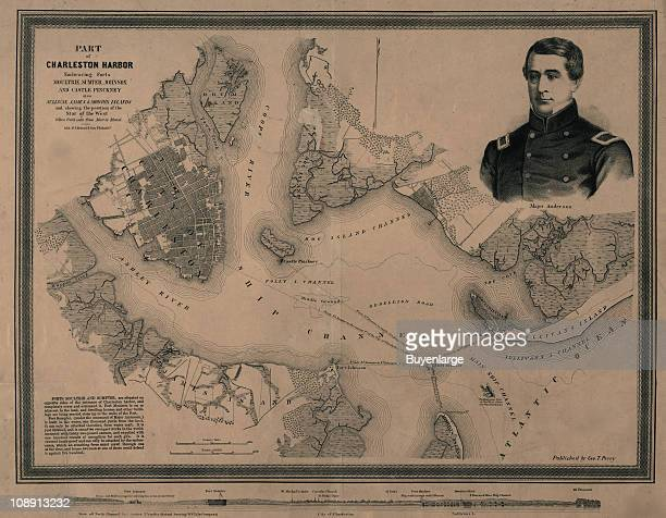 View of Charleston Harbor showing forts Moultrie Sumter Johnson and Castle Pinckney South Carolina 1861 A portrait of Major Anderson commander of...