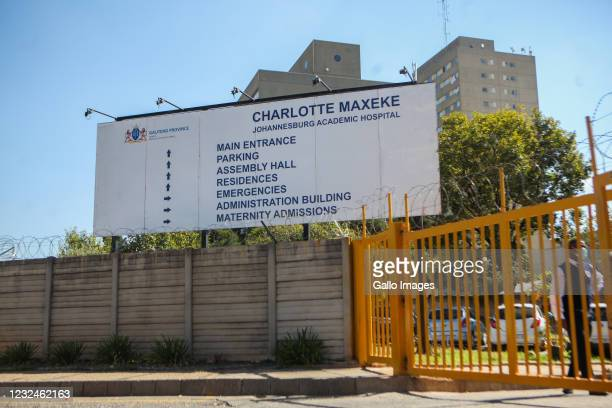 View of Charlotte Maxeke Hospital during the Minister of Health, Dr. Zwelini Mkhize, visit on April 20, 2021 in Johannesburg, South Africa. It is...