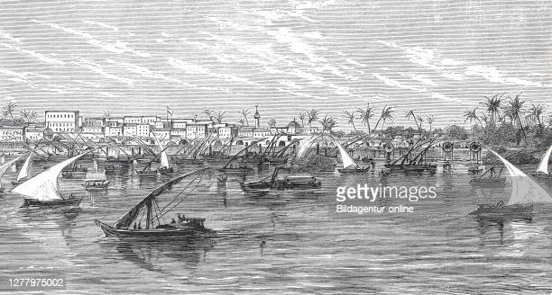 View of Chartum, Khartoum, Sudan, before it was captured by Mahdi seen from the Nile.