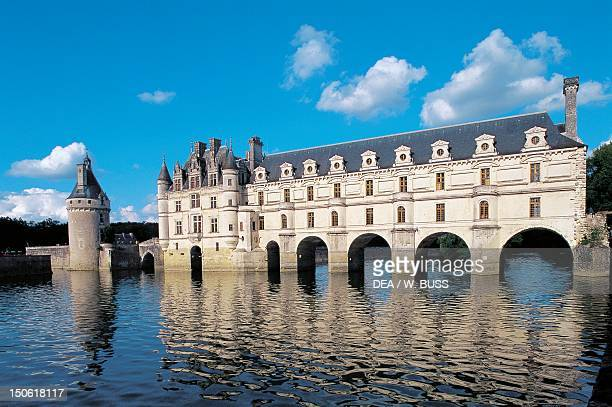 View of Chateau de Chenonceau and the Cher river France 16th century Loire Valley France
