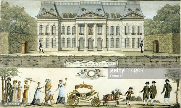 View of Chateau of Meudon from the garden King of Rome son of Napoleon I and Marie Louise of Austria taking his first steps in a babywalker Etching