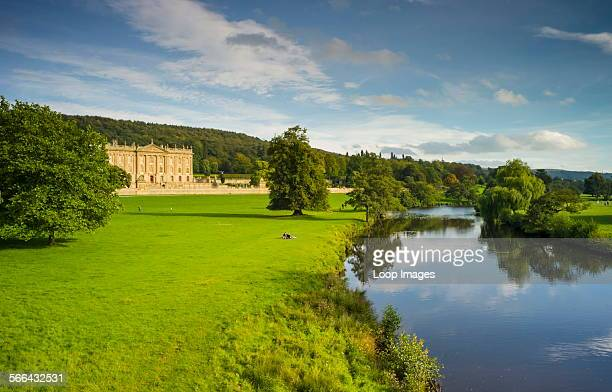 View of Chatsworth House and the River Derwent
