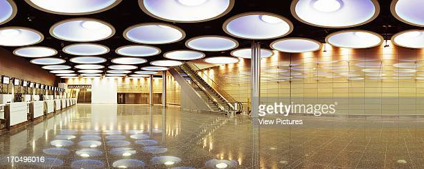 View of checkin facility showing artificial lighting checkin desks stairs and wall paneling Check In Facility Dublin Airport Airport Europe Ireland...
