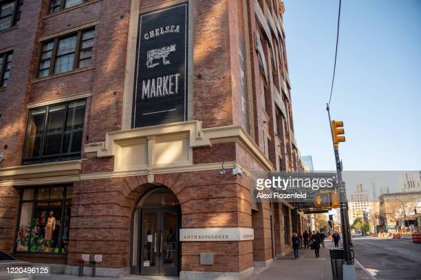 A view of Chelsea Market and Anthropologie amid the coronavirus pandemic on April 22 2020 in New York City United States COVID19 has spread to most...