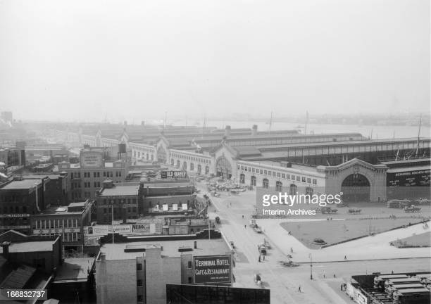 View of Chelsea Piers on the city's west side New York ca 1920
