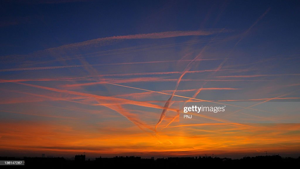View of Chemtrails compagny : Stockfoto