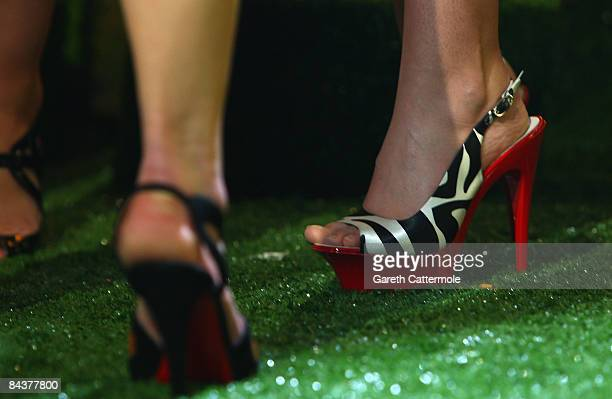 A view of Cheryl Cole's shoes durng the Brit Awards 2009 Nominations Launch Party at the Roundhouse on January 20 2009 in London England