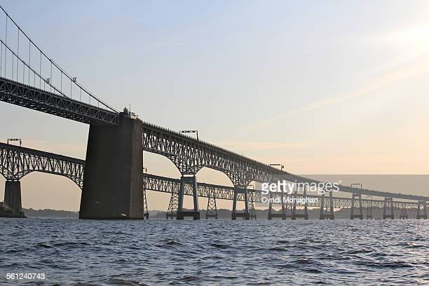 view of chesapeake bay bridge - chesapeake bay bridge stock pictures, royalty-free photos & images