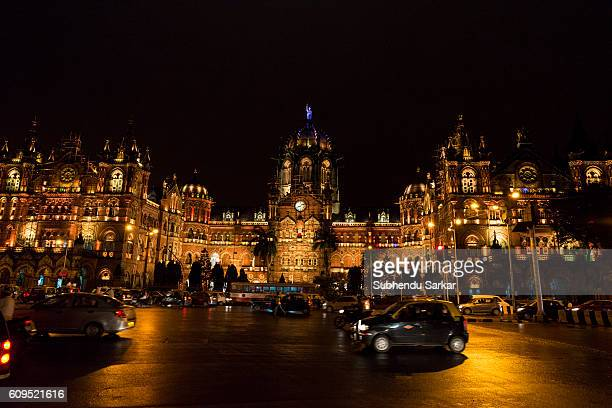 A view of Chhatrapati Shivaji Terminus Railay Station at night It is an iconic building and a UNESCO World Heritage site