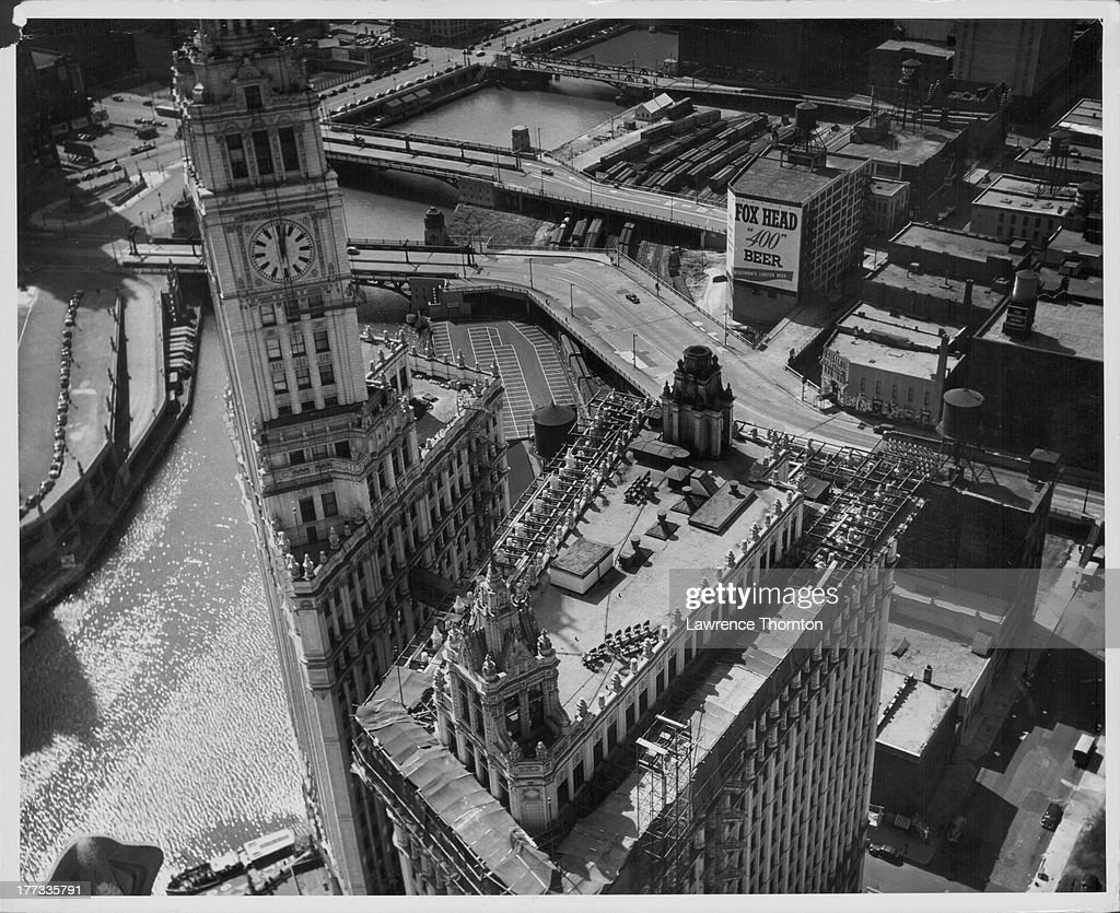 Wrigley building pictures getty images a view of chicago from above with the wrigley building in the foreground chicago buycottarizona Images