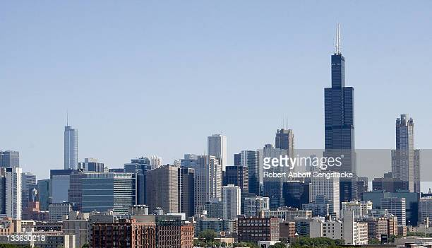 View of Chicago looking northeast with the Willis Tower on the right formerly known as the Sears Tower dominating the skyline and the Trump Tower on...
