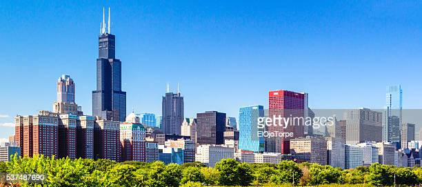 view of chicago skyline, illinois - willis tower stock photos and pictures