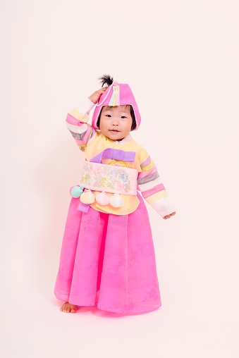 View of child wearing Korean traditional dress - gettyimageskorea