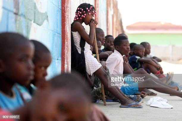 A view of children at the Mabubas slum on January 23 2018 in Luanda Angola Angola has vast mineral and petroleum reserves and its economy is among...