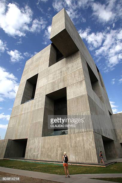 View of Chilean architect Alejandro Aravena's Innovation Centre of the Catholic University of Chile building in Santiago Chile on January 13 2016...
