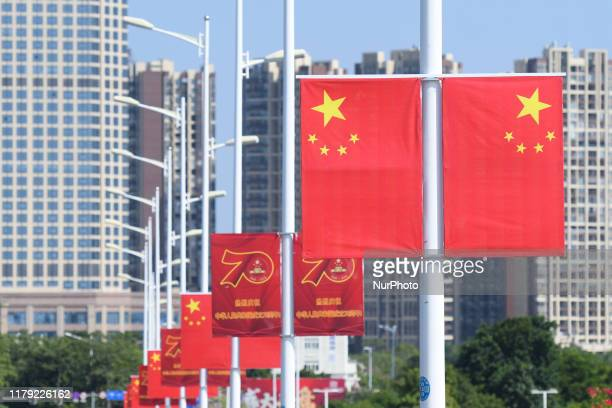 View of China National Flags seen in Qinzhou city center. On Friday, October 18 in Qinzhou, Guangxi Region, China.