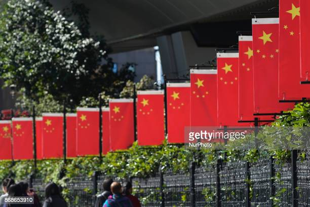 A view of China National Flags seen in Shanghai city center near the birthplace of China's Communist Party in Shanghai where Mao Zedong and 12 other...