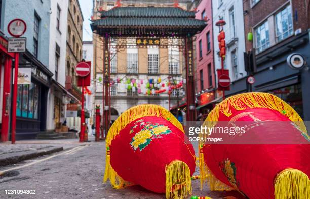 View of Chinese lanterns ready to hang up in China Town, London. Chinese New Year is the biggest festival in Asia. Every year, hundreds of thousands...