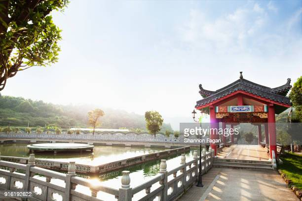 view of chinese temple - guangdong province stock photos and pictures