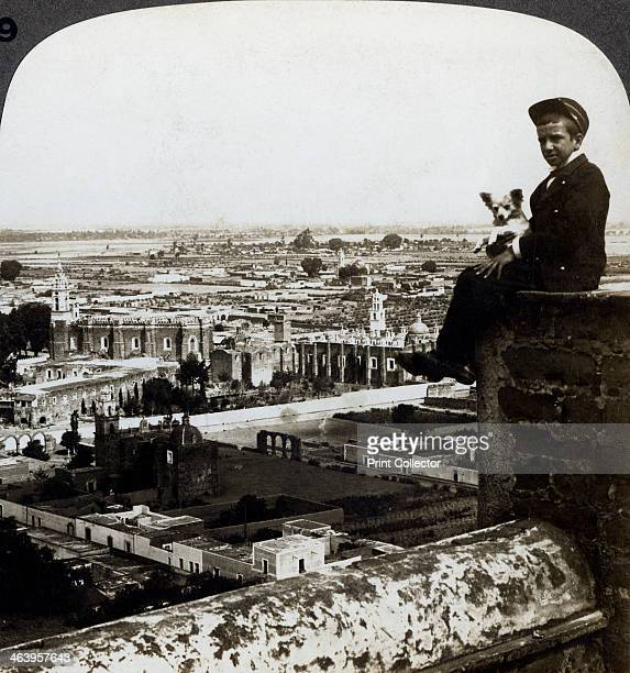 View of Cholula, Mexico. Stereoscopic card detail.
