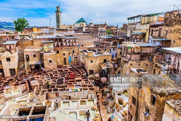 view of chouwara tannery - marokko stock-fotos und bilder
