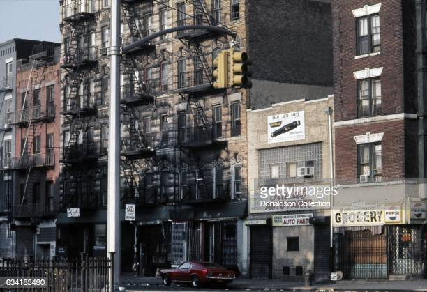 View of Christie Street at the intersection of Delancy Street in the Lower East Side in1976 in New York City, New York.