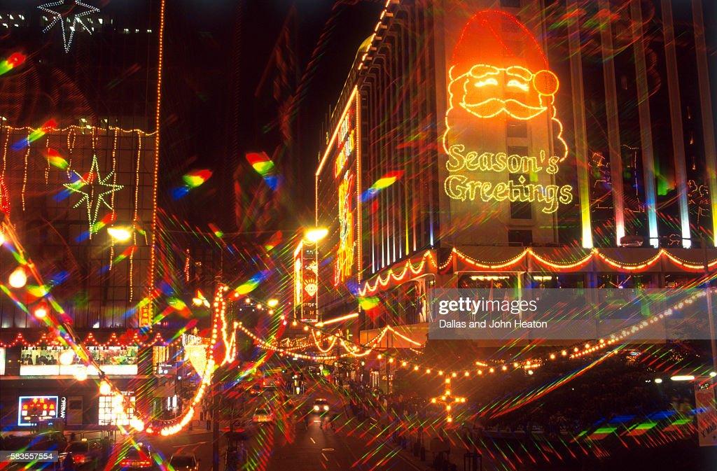 View of Christmas decorations, Kowloon, Hong Kong, China : Stock Photo