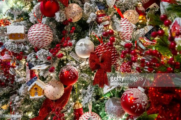 View of Christmas items for sale on November 7, 2020 in Rijswijk, Netherlands. Sellers of Christmas trees and accompanying decorative items are...