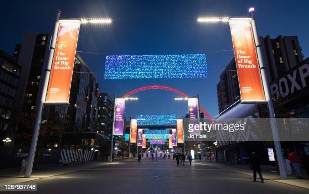 View of Christmas Lights in front of Wembley Stadium on November 26, 2020 in Wembley Park, London.