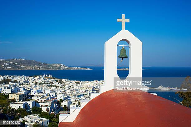 View of church and townscape, Chora, Mykonos, Greece