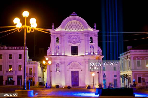 View of Church of Santa Maria del Suffraggio in LAquila, Italy, on April 6, 2020 during the 11th Anniversary of 2009 LAquila Earthquake. On each...