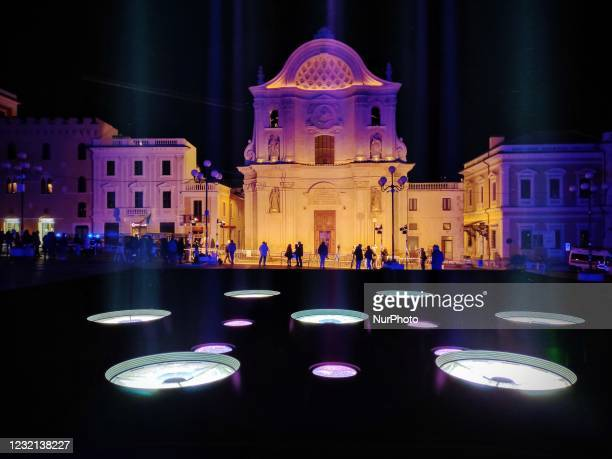 View of Church of Santa Maria del Suffraggio in LAquila, Italy, on April 6, 2021 during the 12th Anniversary of 2009 LAquila Earthquake. On each...