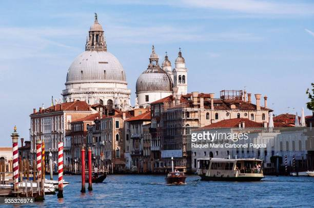 View of church of Santa Maria della Salute from a vaporetto sailing on the Grand Canal
