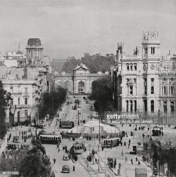 View of Cibeles fountain, still covered by anti-air raid coverings, Plaza de Cibeles, Madrid, Spain, Spanish Civil war, from L'Illustrazione...