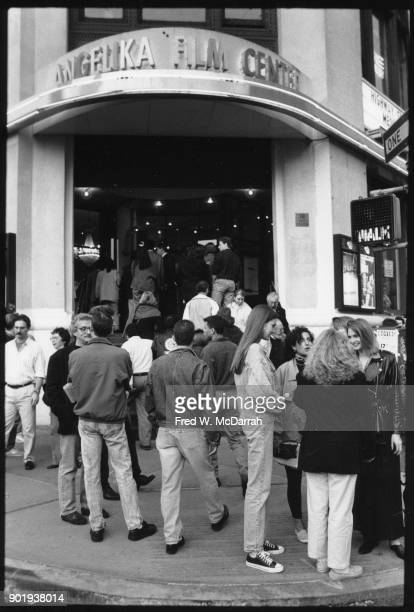 View of cinema goers on the sidewalk outside the the Angelika Film Center New York New York May 26 1992